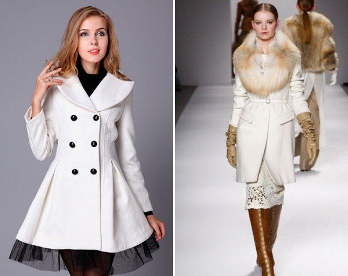 Белое пальто с пышной юбкой