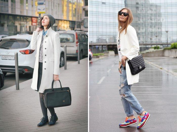 Белое пальто с леггинсами или джинсами