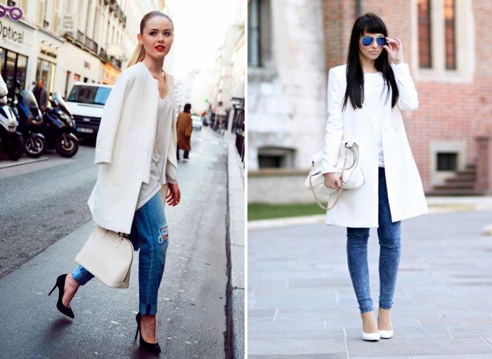 Белое пальто с рваными джинсами