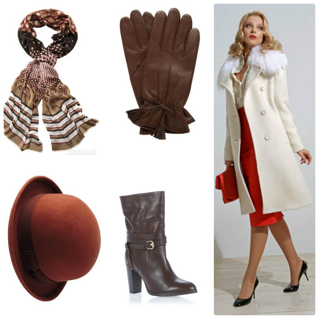 Белое пальто с коричневыми полусапожками