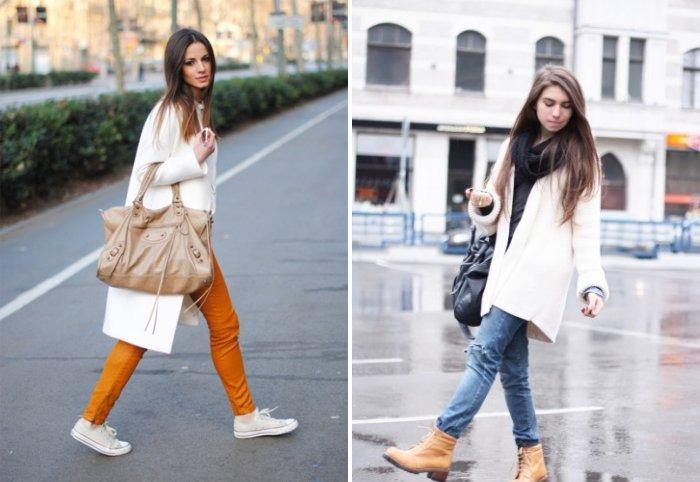 Белое пальто с обувью на низком каблуке