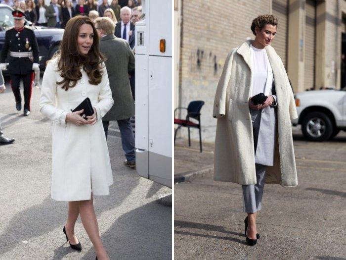 Белое пальто с туфлями лодочками