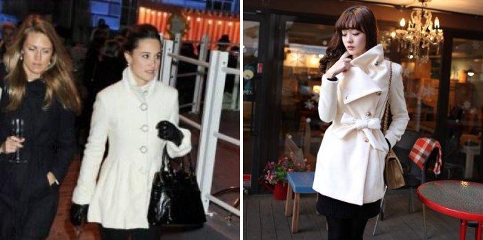 Короткое белое пальто
