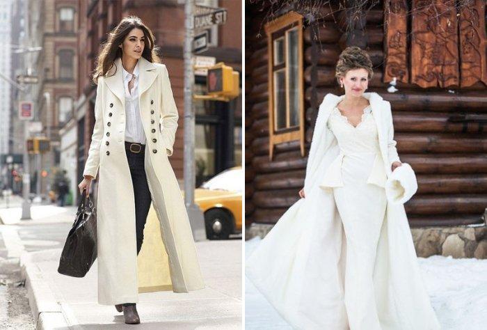Длинное белое пальто в пол