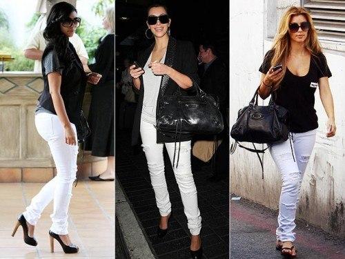 Белые брюки в сочетании с черным верхом
