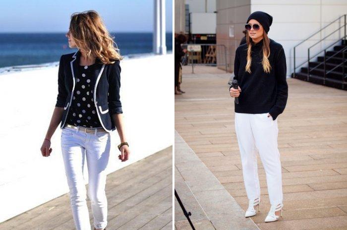 Белые брюки с черным верхом