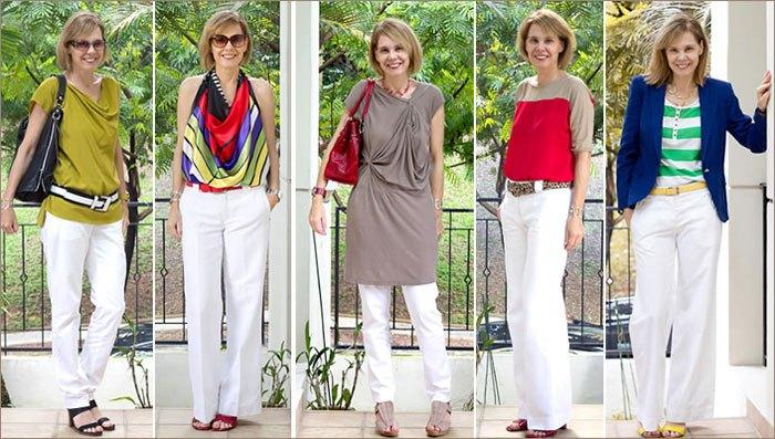 Белые брюки в сочетании с яркими блузами