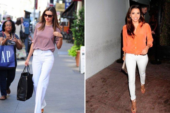Белые брюки с яркой блузой