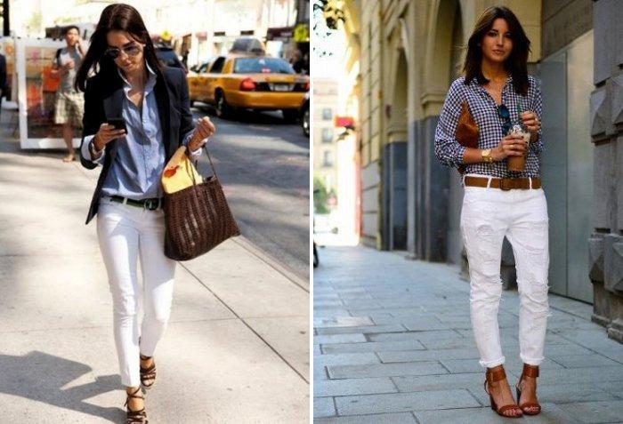 Белые брюки в сочетании с денимом