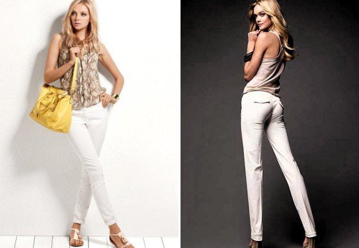 Белые брюки в сочетании с кремовой блузой