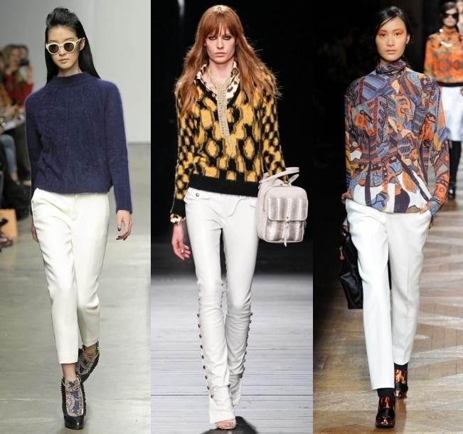 Белые брюки со свитером