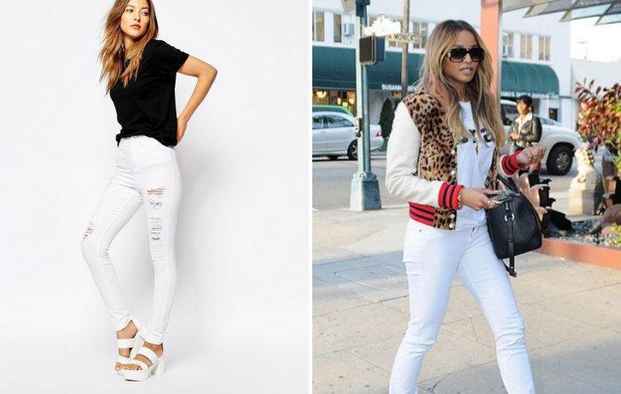 Белые брюки с босоножками на высоком каблуке