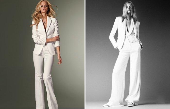 Классические белые расклешенные брюки