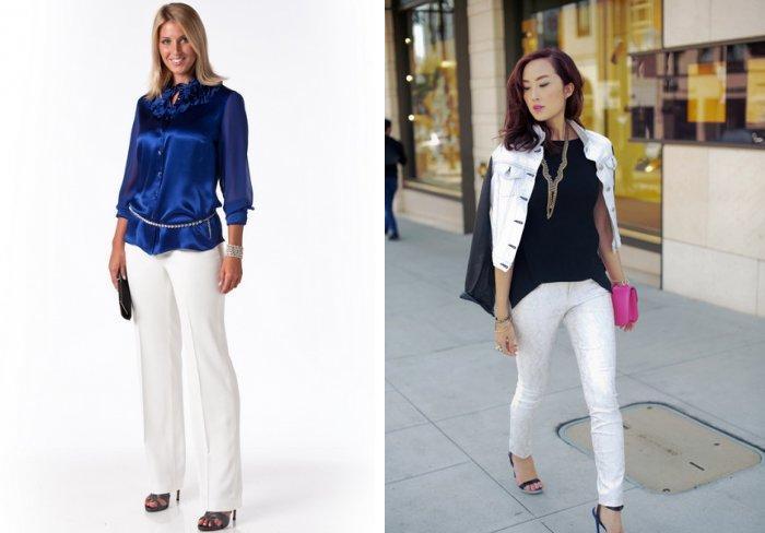 Классические белые брюки прямого покроя