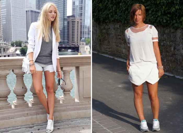 Белые шорты с кроссовками