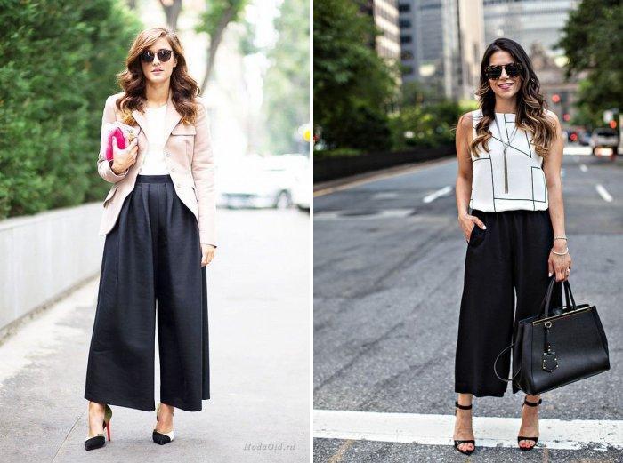 Длинные черные брюки кюлоты