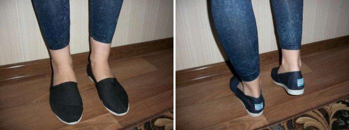 Черные балетки из джинсовой ткани