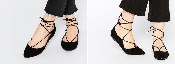 Черные балетки со шнуровкой