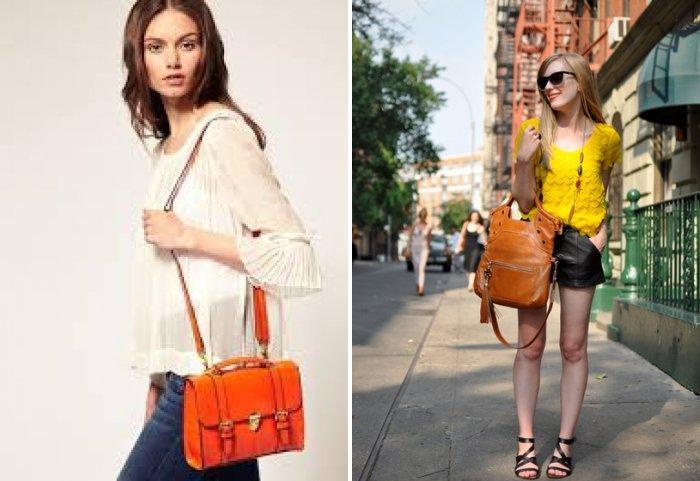 Стильная оранжевая сумка