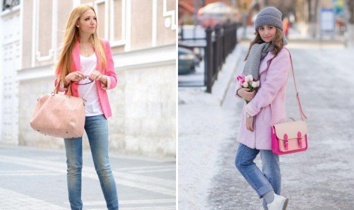 Романтический образ с розовой сумкой