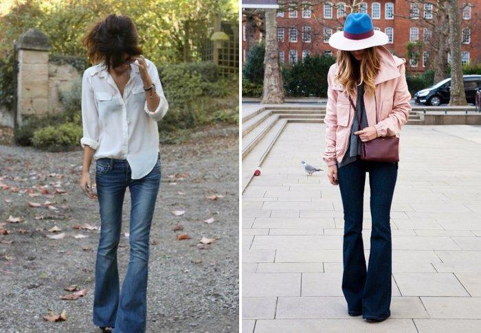 С чем носить джинсы клеш?