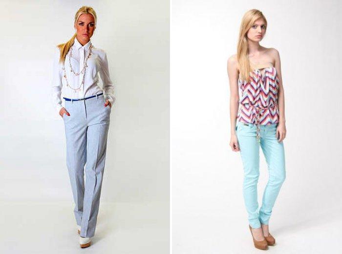 Голубые брюки: на свидание и в офис