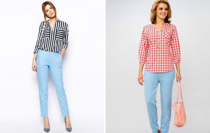 Голубые брюки и стильная рубашка