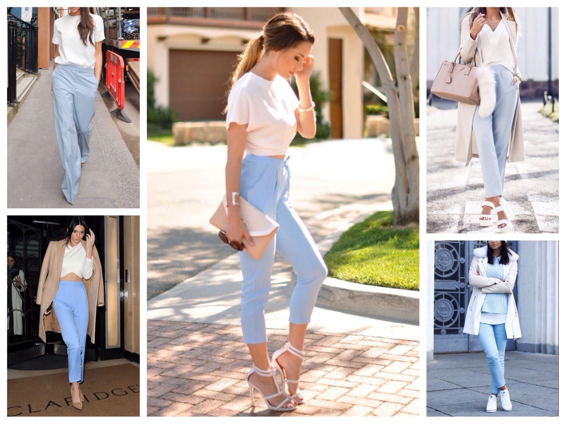 С чем сочетаются голубые брюки