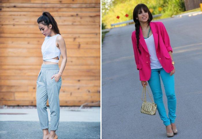 Романтический стиль голубыми брюками