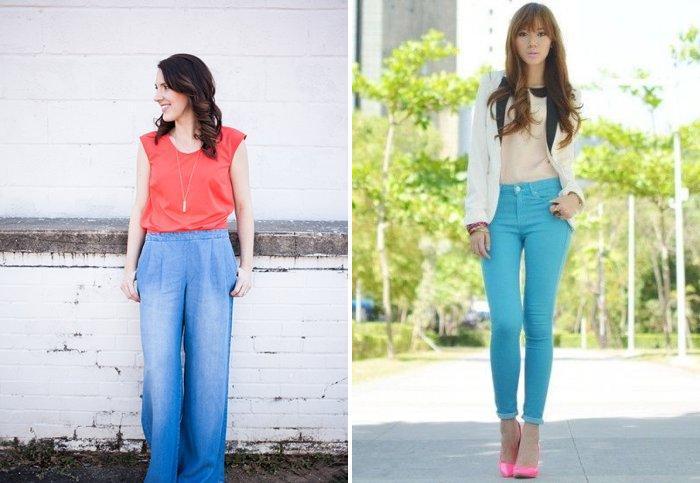 Модные голубые брюки из джинсовой ткани