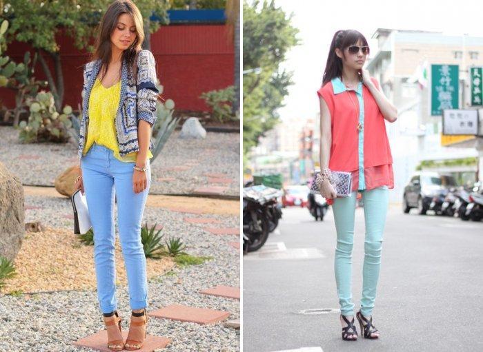 Голубые брюки в сочетании с яркой блузой