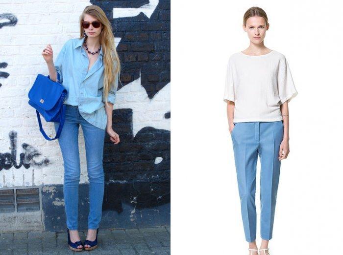 Голубые брюки со светлым верхом
