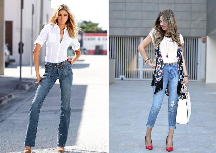 Голубые джинсы с белой рубашкой