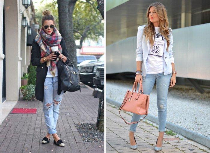 Модные голубые джинсы