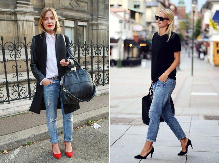 Голубые джинсы в сочетании с туфлями на каблуке