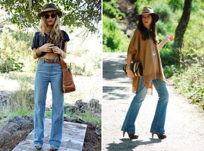Голубые джинсы в сочетании со шляпой