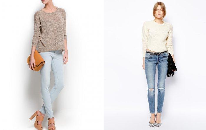 Голубые джинсы в сочетании со светлым свитером