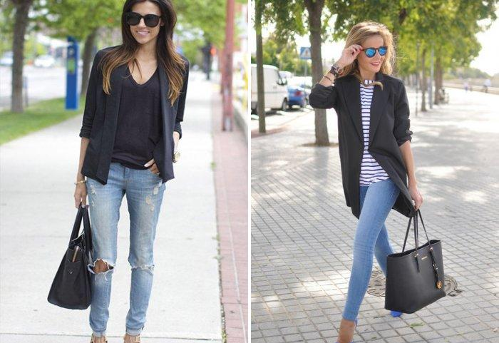 Голубые джинсы с большой черной сумкой