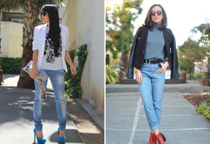 Голубые джинсы и однотонный пиджак