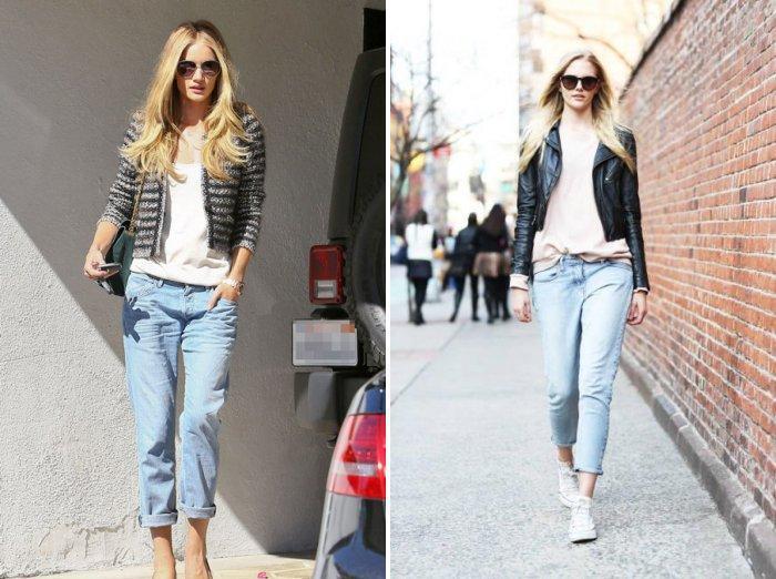 Укороченные голубые джинсы