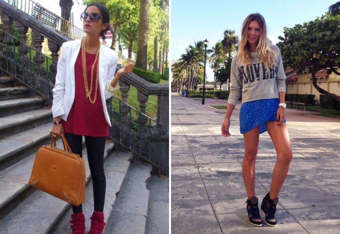 Кроссовки на платформе и короткая юбка