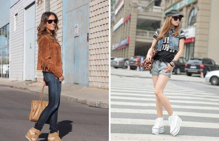 Кеды на платформе и джинсовые брюки