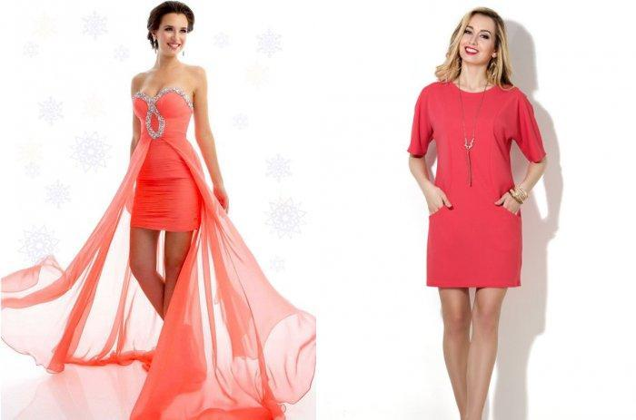 Короткое коралловое платье