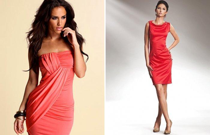 Коралловое платье с розоватым оттенком
