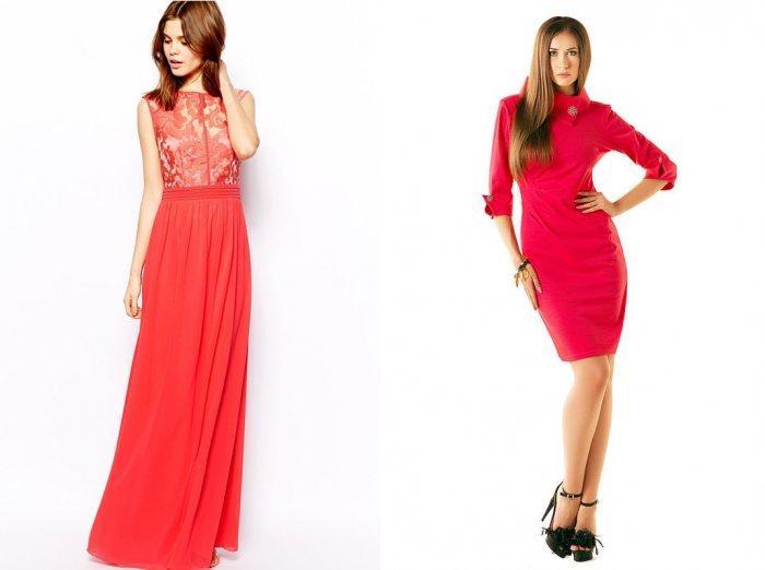 Коралловое платье с ярким розовым оттенком