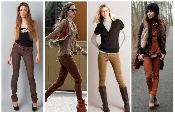 С чем носить коричневые брюки?