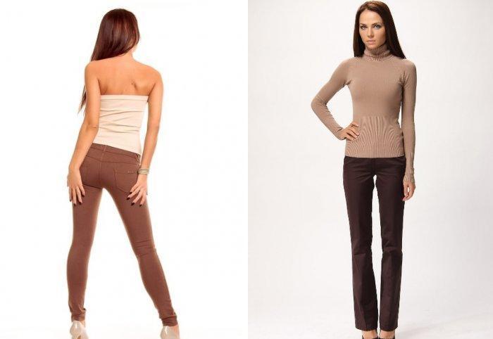 Коричневые брюки с бежевой кофтой