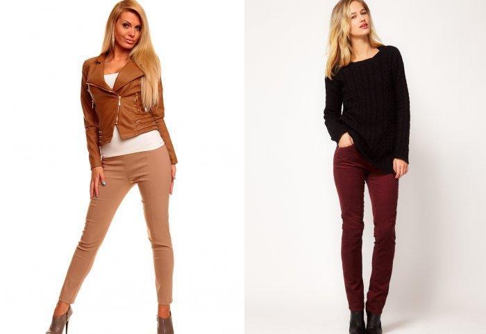 Коричневые брюки из джинсовой ткани