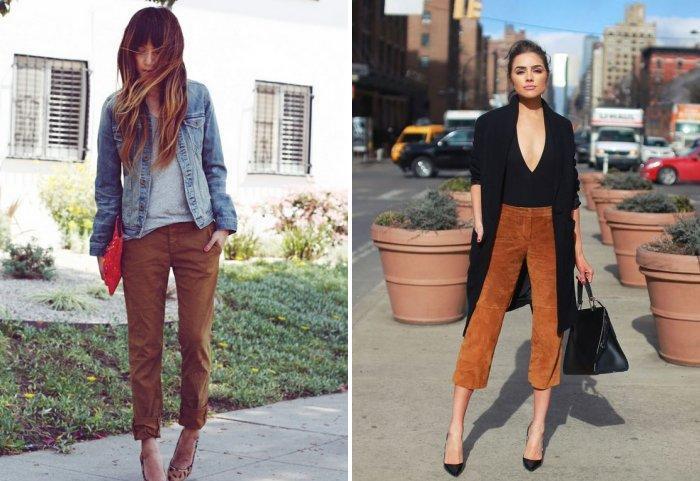 Укороченные коричневые брюки