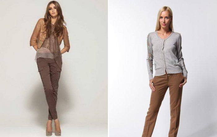 Модные коричневые брюки